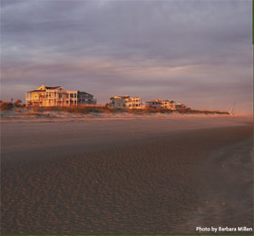 Homes on the beach at Isle of Palms, SC